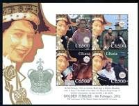 Reign of Queen Elizabeth II - 50 th Anniversary Mint Sheet of 4 Stamps Ghana, 2002