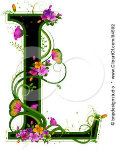 Black Capital Letter L Outlined In Green, With Colorful Flowers And Butterflies Posters, Art Prints by - Interior Wall Decor Alphabet Art, Letter Art, Lettering Design, Hand Lettering, L Wallpaper, Art Quilling, Pretty Letters, Illuminated Letters, Letters And Numbers