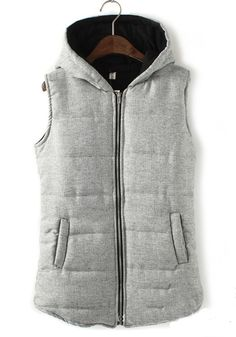 ++ grey plain pockets thick cotton blend padded coat