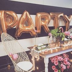 """{Throw a PARTY!} We think Letter Balloons are Party Must-Haves! Find letter balloons in gold or silver in our shop! photo via #pinterest source unknown…"""