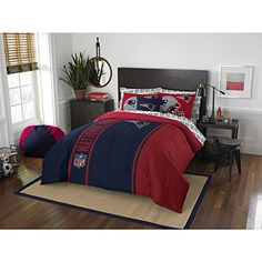 7 Piece Full NFL New England Patriots Football Team Comforter, Sports Fan Bedding, Football Themed, Featuring Team Logo, Dark Navy Blue Red, Merchandise, Team Spirit, Polyester Material //Price: $163.76 & FREE Shipping //     #bedding
