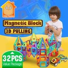 Minitudou niños juguetes 32 unids enlighten bricks educativos magnética juguete de diseño cuadrado triángulo hexagonal 3d diy bloques de construcción