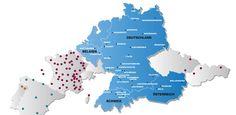 Standorte der Partnerbetriebe des Relais - Die Textilkonstrukteure Tensile Structures, Map, Business, Belgium, Textiles, Location Map, Store, Maps, Business Illustration