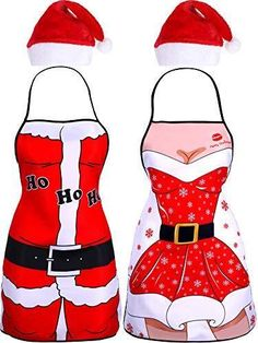 fec10df22d4f0 Jovitec 4 Pieces Christmas Party Kits Include 2 Pieces Santa Aprons Xmas  Apron  fashion