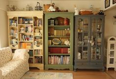 Shabby Chic Shelving: Mismatched Bookcases