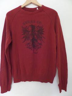 GUESS Men's Shirts Size-M Burgundy Crewneck 100% Cotton Very Good!  #GUESS #Crewneck