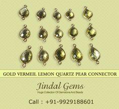 Gold Vermeil Lemon Quartz Pear Connector