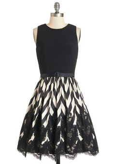 Anticipated Performance Dress - White, Chevron, Lace, Party, A-line, Sleeveless, Better, Scoop, Knit, Black, Belted, Pockets