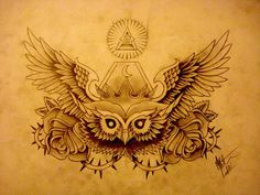 Owl chest tattoo
