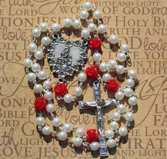 Mother and Child Rosary, White with Red Roses *Christian Catholic prayer chaplet Mother's Day religious spring flowers Blessed Mother by #TripleTwisting on Etsy