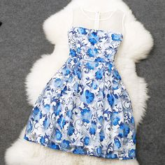 127aeb80b83 Blue printing stitching embroidery Slim Dress MDk Luulla Dresses