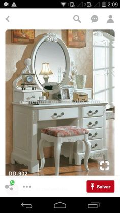 The day starts however you are still lying in the bed? We want to explain to you 10 fast techniques for getting your glow on. Dressing Table Design, Vintage Dressing Tables, Antique Vanity, Deco Design, Beauty Room, My Room, Furniture Makeover, Painted Furniture, Furniture Design