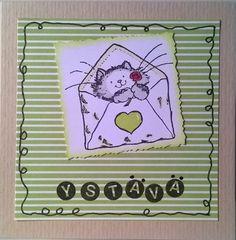 """Valentain's Day card. Stamp: Penny Black. Card size: 4x4"""". / Ystävänpäiväkortti."""