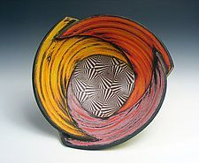 Folded Bowl with Vector Pattern by Thomas Harris (Ceramic Bowl)