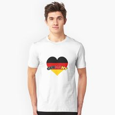 """Germany Heart"" T-shirt by favorite-shirt Germany Shirt, Heart, Tees, Mens Tops, T Shirt, Fashion, Supreme T Shirt, Moda, T Shirts"