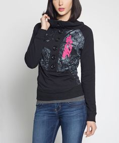 Look at this So Nice Collection Black Tania Button-Front Sweater on #zulily today!