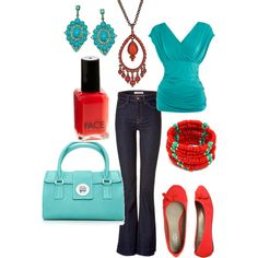 Everyday Aquamarine and Red