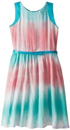 Nicole Miller Girls 7-16 Printed Faux Silk Dress, Blue Deco, Medium - Click image twice for more info - See a larger selection of little girl special ocassion dresses at http://girlsdressgallery.com/product-category/special-occasion-dresses/- kids, toddler, kids dresses, little girls, dress, gown, little girls fashion, gift ideas, flower girl, wedding, party dress