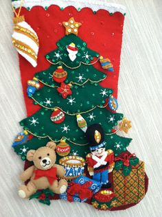 Under the Tree Completed Handmade Felt Christmas Stocking from Bucilla Kit by GrandmasStitchings on Etsy