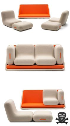 sofa loveseat with removeable chairs for more seating! | Matali Crasset