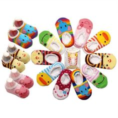 Babies' 5 Pairs Antiskid Elastic Stockings Socks Boys. Boy&Girl Boat Sock:length:9 -12 cm, suitable for 1-3 years old. Stripe Animal Sock:S:suitable for 0-2 years old,M:suitable for 2-4 years old. The bottoms of the socks are beaded with non-skid material for your child's safety; Soft and comfortable for baby feet. Socks washing instruction:Both hand and machine wash are OK; Low temperature wash and open-air drying. Packages: Includes 5 pairs of bright colored basic baby-socks.