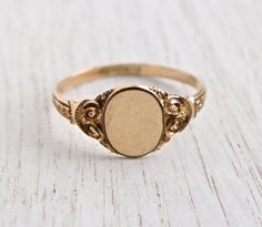 Antique Signet Rose Gold Filled Ring - Edwardian Art Nouveau Size 9 1/2 Monogram Initial Jewelry / Ornate Blank Slate by Maejean Vintage on Etsy, $50.00