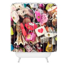 Catherine McDonald What The World Needs Now Shower Curtain | DENY Designs Home Accessories #lovelocks #love #pink #eiffeltower