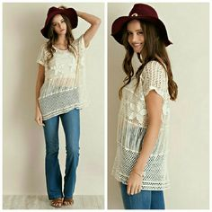 Lillianne Top 85% Cotton  15% Polyester Color: Natural (also available in white) Tops