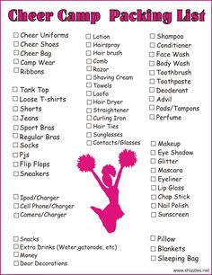 Wanna make sure you remember all your stuff as you head to Cheer Camp?  Here's a list to help.