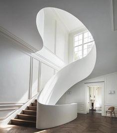 "57.1k Likes, 480 Comments - Design Milk (@designmilk) on Instagram: ""Love the Guggenheim-esque #staircase in this Boston #home designed by @stevenharrisarchitects. \\\…"""