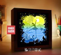 3d Light, Paper Light, Knife Art, Shadow Box Frames, Anniversary Gifts For Him, Origami Art, Lightbox, Swan Lake, Paper Paper