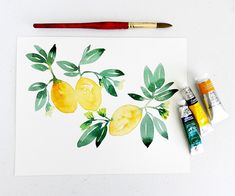 Watercolor Lemons, Leaves, and Blossoms by Elise Engh