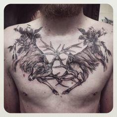 Tattoo Cervos (Peito) #tattoo #cervos #deer #dotwork #flederweiss #tattoo #roses