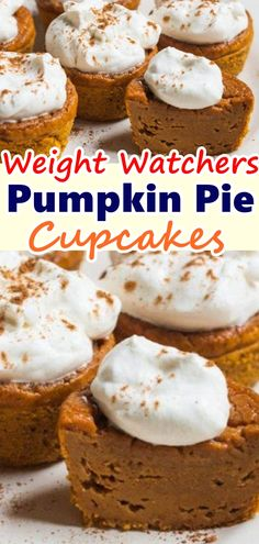 OMG Pumpkin Pie Cupcakes are individual portions of traditional pumpkin pie with great combination of texture and yummy pumpkin and spice flavor. Don't forget to Pin this so it will be SAVED to your timeline! Low Calorie Desserts, Ww Desserts, Low Calorie Recipes, Dessert Recipes, Dinner Recipes, Weight Watchers Cupcakes, Dessert Weight Watchers, Weight Watchers Pumpkin Cake Recipe, Healthy Pumpkin Pies