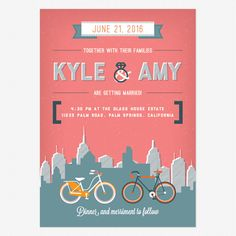 City Life Wedding Invitations www.lovevsdesign.com