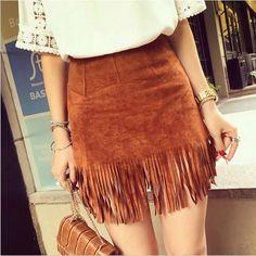 ew Women Suede Fringed Leather Skirt Fashion Package Hip High Waist Tassel Skirts Female Saia Feminina Solid Color Spring alishoppbrasil