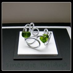 BRACELET aluminium argent cristaux vert bracelet par sinergiemilano