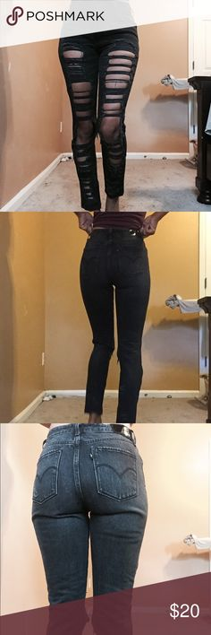 Levi distressed jeans Faded black Levi jeans from urban outfitters  lightly used and fit great Levi's Jeans Skinny