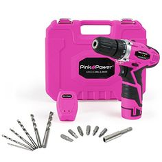 Pink Power Cordless Drill & Driver Tool Kit for Women- Tool Case, Lithium Ion Electric Drill, Drill Set, Battery & Charger - Various Personal Tools Product Libarry Driver Tool, Drill Driver, Pink Tool Box, Tools For Women, Electric Screwdriver, Drill Set, Pink Power, Cordless Drill, Tool Kit