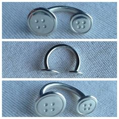 Fine silver clay double button ring