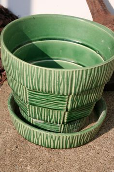 Vintage McCoy Green Textured Planter by holliewouldvintage on Etsy