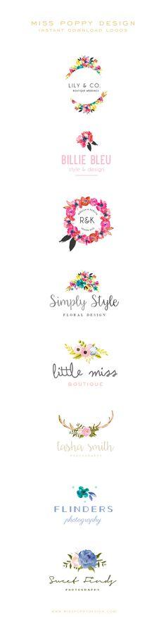 Logo Design / Brand Design / Branding / Photographer / Wedding / Watercolour / Brand Design / Miss Poppy Design