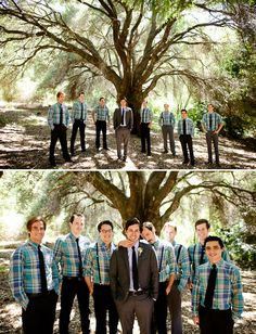 groomsmen in plaid shirts. super cute!