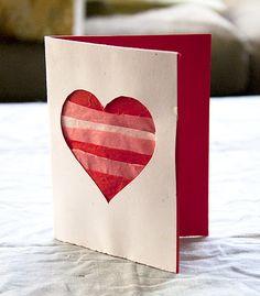 DIY Tissue Paper Card from our Valentine's craft breakfast! #diy #valentines