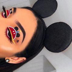 süßes Mickey Mouse Disney Make-up # - make up love - Eye-Makeup Peach Makeup Look, Burgundy Makeup Look, Purple Makeup Looks, Soft Makeup Looks, Glitter Makeup Looks, White Makeup, Creative Makeup Looks, Halloween Makeup Looks, Halloween Eyeshadow