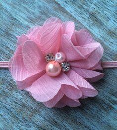 Pretty Pink, Single Flower Headband  6$