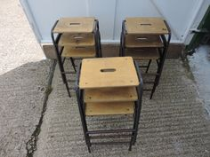 Vintage industrial school metal wood stacking science lab stools chair table old 3 : wooden science lab stools - islam-shia.org