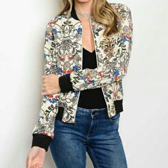Womens Fashion Light Taupe Floral Retro Moto Casual Bomber Jacket S M | Clothing, Shoes & Accessories, Women's Clothing, Coats & Jackets | eBay!