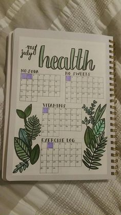 Monitor your health with your bullet journal. Here's an example. Plus 100 more BuJo page ideas in this post! Monitor your health with your bullet journal. Here's an example. Plus 100 more BuJo page ideas in this post! Bullet Journal Tracker, Bullet Journal Mise En Page, List Of Bullet Journal Pages, Bullet Journal Writing, Bullet Journal Aesthetic, Bullet Journal Spread, Bullet Journals, Bullet Journal Health, Bullet Journal Layout Ideas