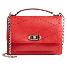 Women's Rebecca Minkoff Medium Je T'Aime Convertible Leather Crossbody... (650 AED) ❤ liked on Polyvore featuring bags, handbags, shoulder bags, carnation red, crossbody shoulder bag, leather handbags, red leather shoulder bag, crossbody purse and red leather crossbody